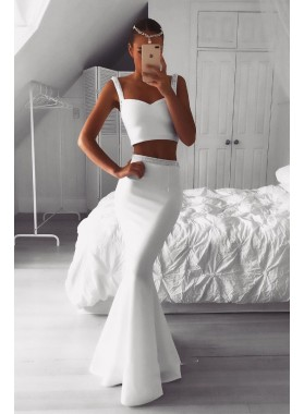2021 Mermaid White Satin Two Pieces Beaded Long Prom Dress