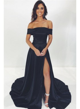2021 A Line Black Off Shoulder Long Satin Prom Dress