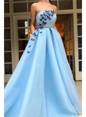 2021 A Line Blue Strapless Patterns Organza Long Prom Dress