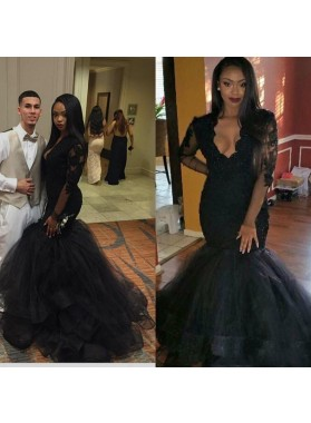 2021 Mermaid Long Sleeves Open Front Tulle Black Long Prom Dress