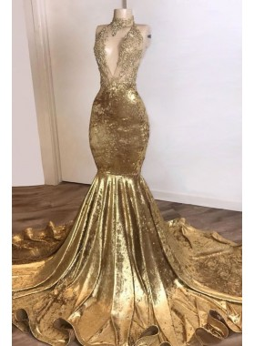 2021 Mermaid Gold Velvet High Neck V Neck Prom Dress