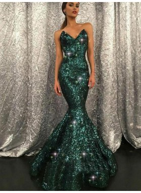 Sweetheart Sequence Mermaid Long Dark Green Prom Dresses 2021
