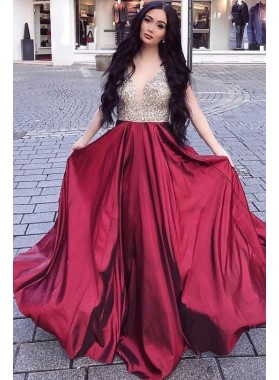 Sweetheart A Line Burgundy Beaded Long 2021 Prom Dresses