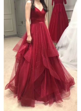 Sweetheart Tulle 2021 A Line Layered Long Red Prom Dresses