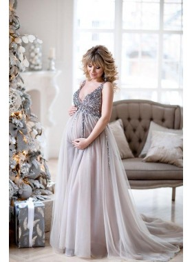 V Neck Beaded 2021 A Line Pregant Tulle Long Silver Prom Dresses