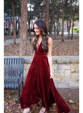 V Neck 2021 A Line Velvet Backless Floor Length Burgundy Prom Dresses