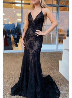 Sweetheart Sheath Halter Lace Backless Long 2021 Black Prom Dresses