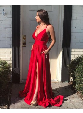 Sweetheart A Line Side Slit Backless 2021 Red Long Prom Dresses