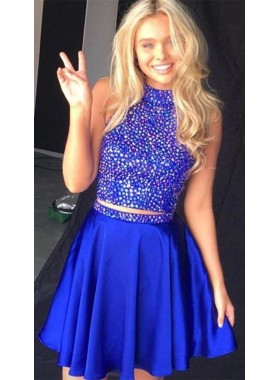 Royal Blue Two Pieces Beaded High Neck Knee Length Short Homecoming Dresses 2021