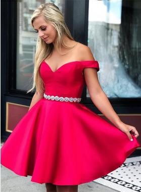 2021 A Line Satin Fuchsia Off Shoulder Sweetheart Beaded Sash Short Homecoming Dresses