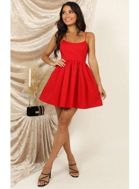 2021 A Line Red Satin Scoop Knee Length Short Prom Dresses Homecoming Dresses