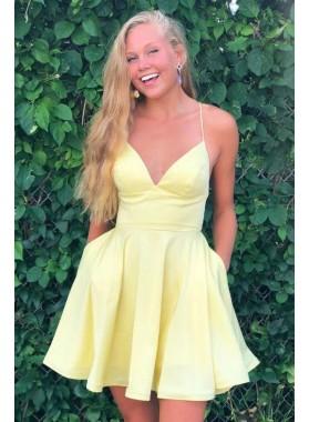 A Line Daffodil Satin Sweetheart Knee Length Short Homecoming Dresses 2021