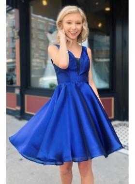 2021 Short Royal Blue V Neck Organza Knee Length Homecoming Dresses