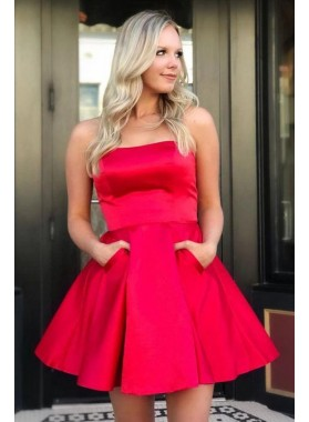 2021 Red A Line Satin Strapless Knee Length Pockets Short Homecoming Dresses
