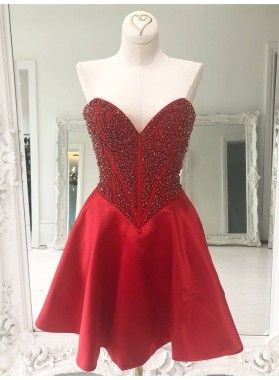 2021 A Line Satin Sweetheart Knee Length Beaded Red Short Homecoming Dresses