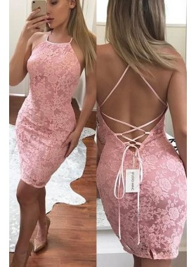 2021 Sheath Halter Lace Up Pink Short Lace Homecoming Dresses