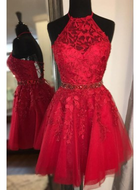 2021 Red Halter Tulle With Appliques Beaded Knee Length Corset Short Homecoming Dresses