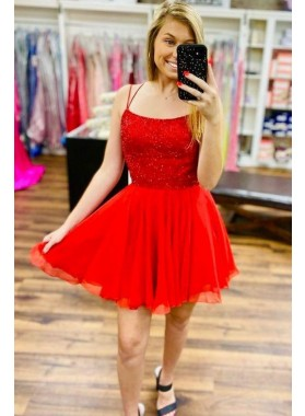 A Line Chiffon Beaded Red 2021 Short Homecoming Dresses