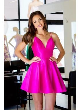A Line Satin Knee Length Fuchsia Backless Short 2021 Homecoming Dresses