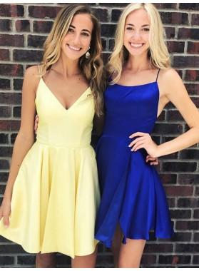 2021 A Line Daffodil Satin V Neck Short Homecoming Dresses