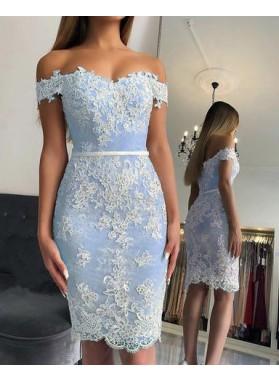 2021 Light Sky Blue Off Shoulder Sweetheart Sheath Lace Short Homecoming Dresses