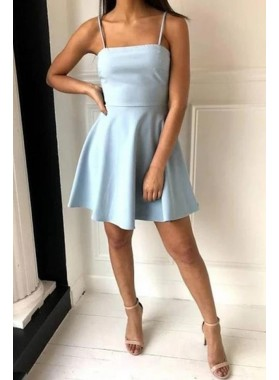 2021 A Line Satin Spaghetti Straps Light Sky Blue Bow Back Short Homecoming Dresses