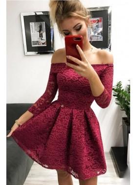 2021 A Line Burgundy Off Shoulder Knee Length Lace Long Sleeves Short Homecoming Dresses