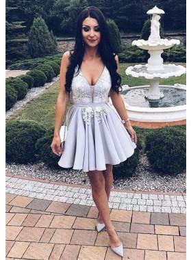 2021 A Line Chiffon Lavender V Neck Patterns Short Homecoming Dresses