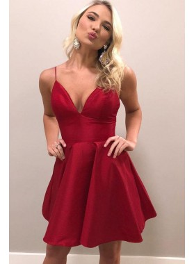 2021 A Line Red Sweetheart Spaghetti Straps Short Homecoming Dresses