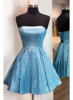 2021 A Line Strapless Blue Knee Length Lace Up Short Homecoming Dresses