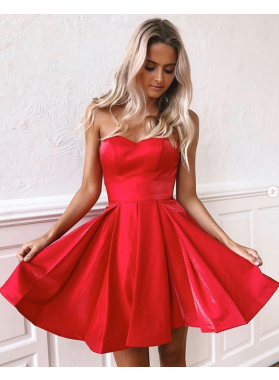 A Line 2021 Red Lace Up Back Knee Length Short Homecoming Dresses