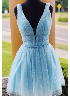 2021 A Line Blue Sweetheart Backless Short Homecoming Dresses