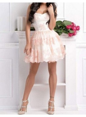 A line Pink Sweetheart Lace Knee Length 2021 Short Homecoming Dresses