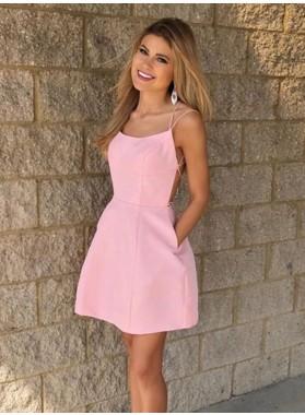 2021 A Line Satin Knee Length Halter Pink Short Homecoming Dresses