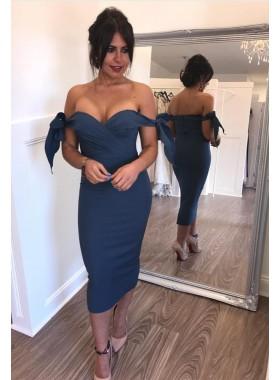 2021 Sheath Off Shoulder Bowknot Ankle Length Short Navy Blue Homecoming Dresses