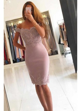2021 A Line Dusty Rose Knee Length Off Shoulder Sweetheart Short Homecoming Dresses