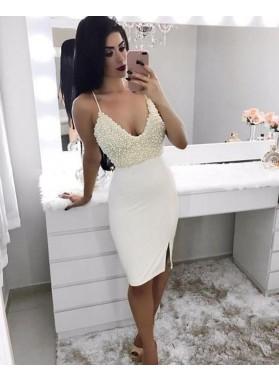 2021 Sheath Halter Pearls Knee Length Backless Short White Homecoming Dresses