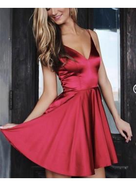 A Line Elastic Satin Burgundy 2021 Sweetheart Short Homecoming Dresses