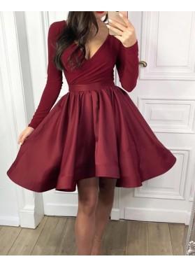 Long Sleeves Knee Length V Neck Satin Burgundy Short Homecoming Dresses 2021