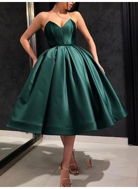2021 A Line Satin Ankle Length Sweetheart Short Hunter Short Homecoming Dresses