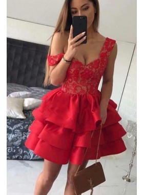 2021 A Line Red Sweetheart Lace Layered Lace Short Homecoming Dresses
