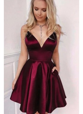 A Line Elastic Satin Sweetheart Burgundy Short Homecoming Dresses 2021