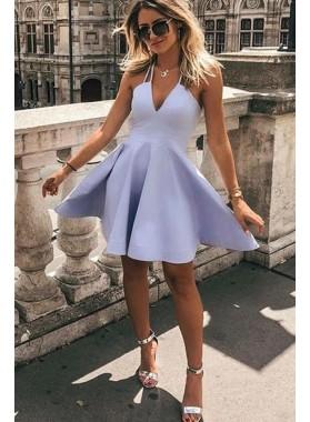Knee Length Lavender A Line V Neck Short Homecoming Dresses 2021