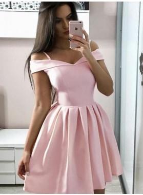 A Line Off Shoulder Pink Satin Knee Length 2021 Short Homecoming Dresses