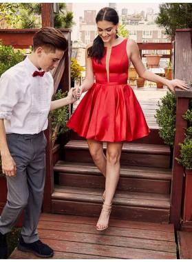 A Line Satin Red Knee Length Short 2021 Short Homecoming Dresses