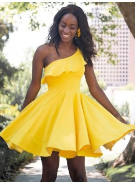 A Line Yellow One Shoulder Elastic Satin Ruffles Short Homecoming Dresses 2021