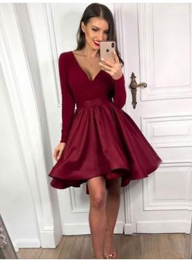A Line 2021 Long Sleeves Burgundy Knee Length Sweetheart Short Homecoming Dresses