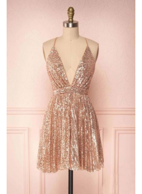 2021 A Line Sequence Dusty Rose Knee Length V Neck Short Homecoming Dresses