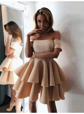 A Line 2021 Champagne Layers Off Shoulder Short Homecoming Dresses