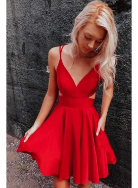 A Line Red Knee Length Backless Elastic Satin 2021 Short Homecoming Dresses